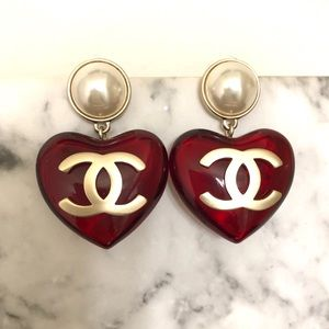 Authentic CHANEL Red Gold Heart Drop Stud Earrings